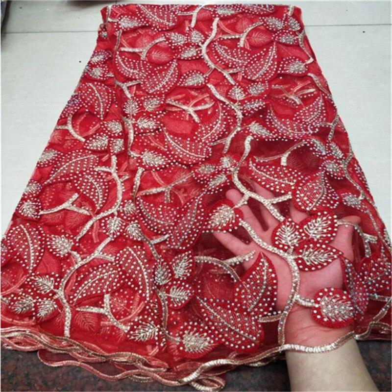 Prix de gros 5 yards dentelle française tissu pierres africain dentelle tissu jolie tulle lacets pour fête/mariage de noël - 4