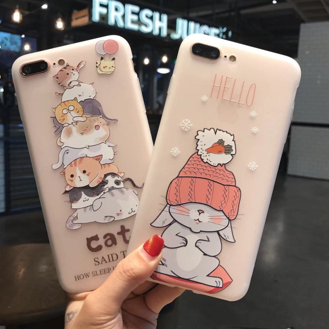 Kuutti Squishy Women Kawaii Cat Rabbit Transparent 3D Relief Silicone  Cartoon Phone Case for iPhone 6 7 8 Plus X Mobile Covers-in Fitted Cases  from ... bea47a5145