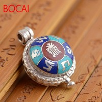 S925 Sterling Silver Pendant gawu box can be opened six words for both men and women