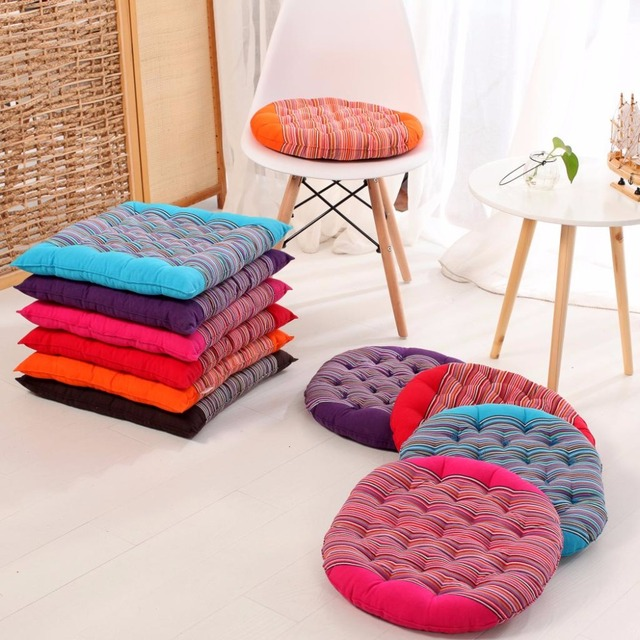 1pcs Striped Square Round Chair Cushion Mat Candy Color Seat Back Cushions Pillow On Chair Home Winter Office Bar Decor Fc34