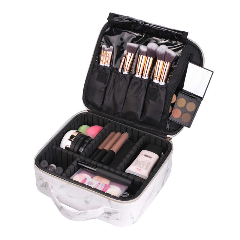 PU Leather Makeup Organizers Travel Girl Cosmetic Box Women's Trip Toiletry Wash Case Lipstick Eyelash Brush Container Supplies