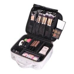 Organizador de maquiagem de couro do plutônio viagem menina caixa de cosméticos viagem feminina caso de lavagem de higiene pessoal batom cílios escova recipiente suprimentos