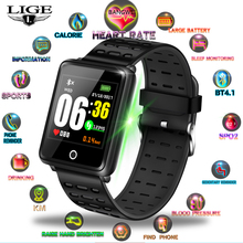 LIGE New Smart Bracelet Heart Rate Blood Pressure Monitor Watch Men Fitness Pedometer Sports Reloj Hombre