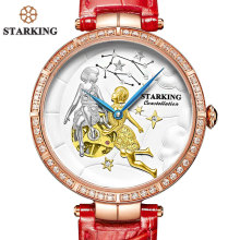 STARKING Unique Design GEMINI Watch Women Genuine Leather Skeleton Automatic Self-Wind Wristwatches Female Clock 5ATM Waterproof