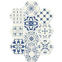Blue And White Style Floor Sticker Creative Simple Diy Hexagon Ceramic Tile Waterproof Non