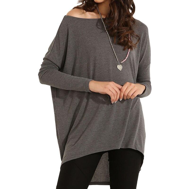Elia Cher бренд лето мода свободную рубашку с длинными рукавами,качества ткани, большой размер женская одеда - Цвет: Серый