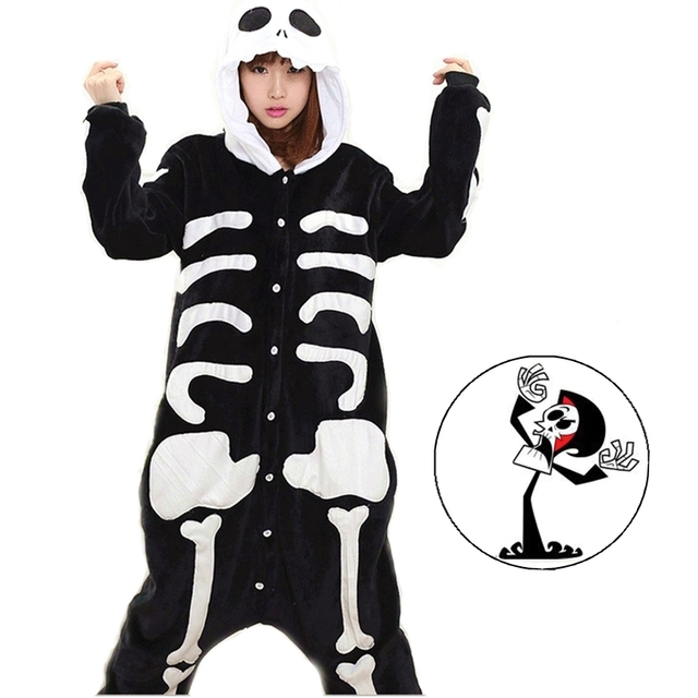 b7c469f5cf Kengurumi Terror Horror Bone Skull Skeleton Cartoon Adult Unisex Animal  Cosplay Halloween Costumes Pajamas Pajama For