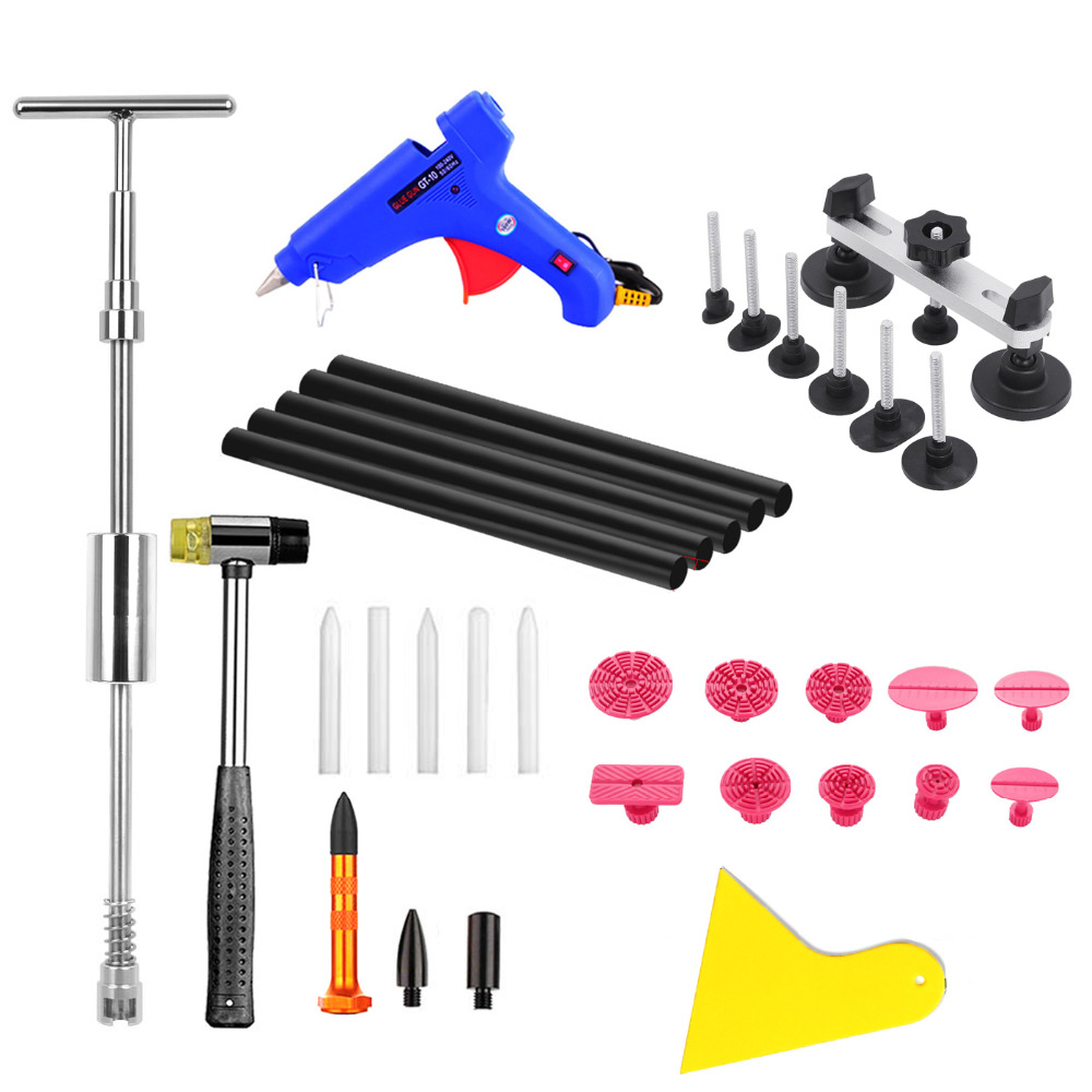 PDR Tools Car Dent Repair Car Body Repair Kit Dent Removal Dent Puller Kit Pulling Bridge Slide Hammer Glue Gun Hand Tools set super pdr car dent repair tools pulling bridge glue puller glue gun dent tabs hand tool set 39pcs dent removal tools kit
