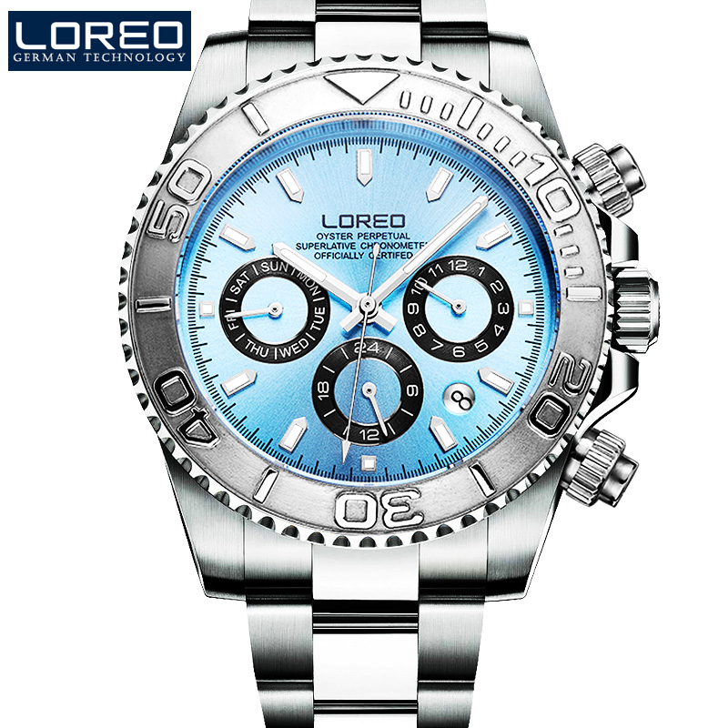 LOREO Sapphire Automatic Mechanical Watch Men silver Stainless steel waterproof blue dial Watch relogio masculine loreo sapphire automatic mechanical watch men stainless steel waterproof auto date nylon watch relogio masculine masculino k34