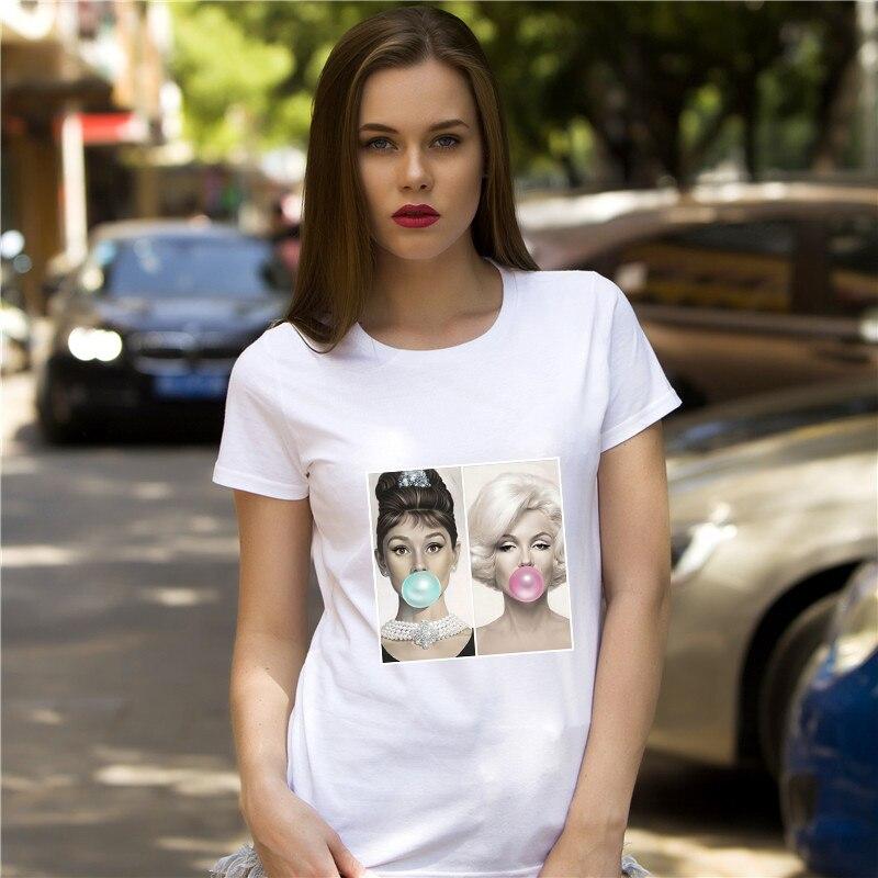 T-shirts Vintage Marilyn Monroe Szene Von Ihren Rock Blasen Up Print T-shirt Sommer Frauen T-shirt Kunst Mädchen Tops Mode Frau Lustige Tees