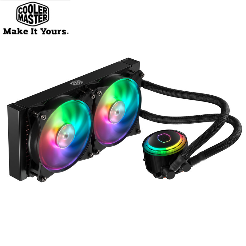 Cooler Master CPU Liquid Cooler 120mm RGB quiet fan For Intel 775 115X 2011 2066 and AMD AM4 AM3+ CPU water cooler PC radiator cooler master 240 cpu liquid cooler two 120mm quiet fan compatible intel 2066 115x amd am4 cpu water cooling fan cooler