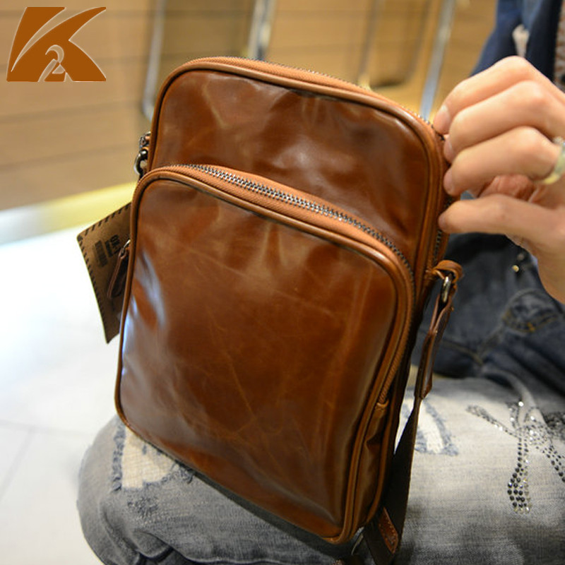 KVKY 2018 Famous Brands Designers Leather Crossbody Bags for Men Casual Small Business Travel Shoulder Bag Messenger Bags Coffee