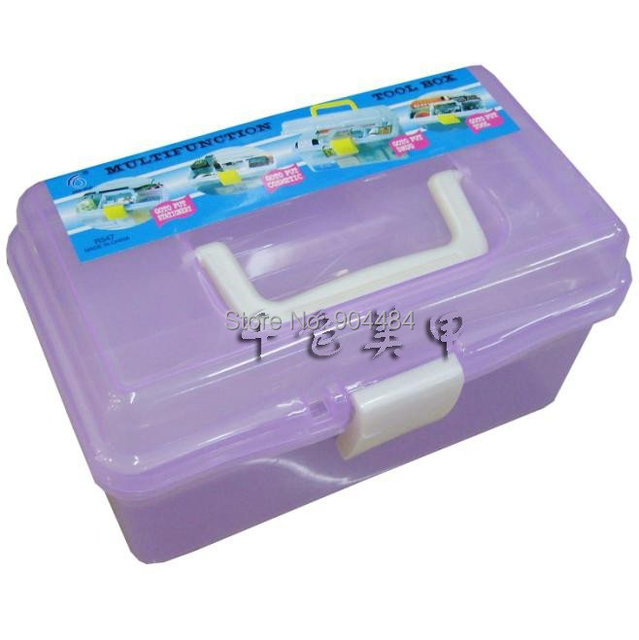 Plastic Suitcase Essential Manicure Kit Nail Tool Box Freeshipping