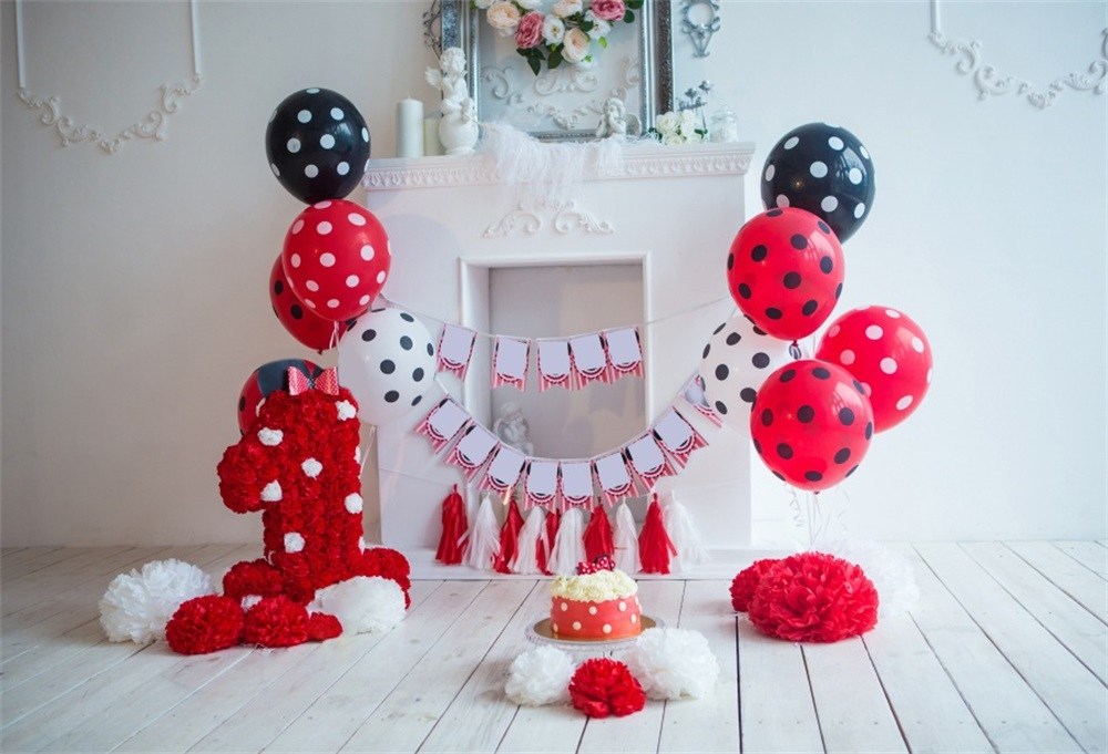 Laeacco Baby 1 Verjaardag Ballon Taart Bloem Plank Haard Foto - Camera en foto