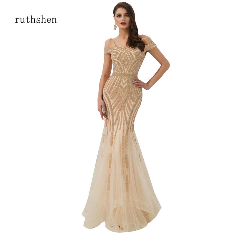 ruthshen Muslim Luxury   Evening     Dress   Long Full Handmade Beading Cristal Spaghetti Strap Diamond Mermaid   Dresses   Robe De Soiree