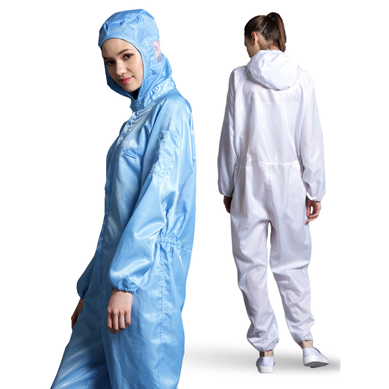 Image 3 - Anti static Coveralls Clean Clothes Hood Cleanroom Garments Clean food Dust proof Paint Work Clothing Unisex Protective overalls-in Safety Clothing from Security & Protection