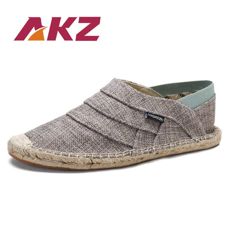 AKZ Summer loafers Men's casual shoes Canvas shoes for men Hemp Comfortable Breathable Fisherman Shoes Male Shoes size 38-45 women and men s casual flat shoes loafers fisherman espadrilles boat shoes men lazy hemp rope weave shoes size 35 45