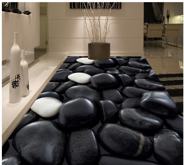Black stone Photo floor wallpaper 3d stereoscopic Photo floor wallpaper 3d PVC waterproof floor Home Decoration