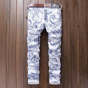 Image 2 - Sokotoo גברים של אופנה כחול ולבן פורצלן דפוס הדפסת ג ינס Slim למתוח ינס מכנסי עיפרון ארוך מכנסיים