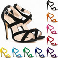 Europe and America summer open toe sandals sexy strappy ankle buckle strap wrap dance shoes stilettos high heels pumps sandals