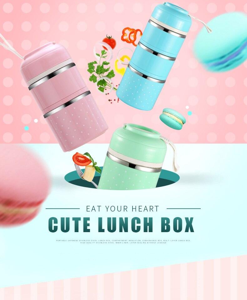 Милые детские Термальность Коробки для обедов герметичность Нержавеющая сталь Bento box для детей Портативный Пикник школа Еда контейнер Box