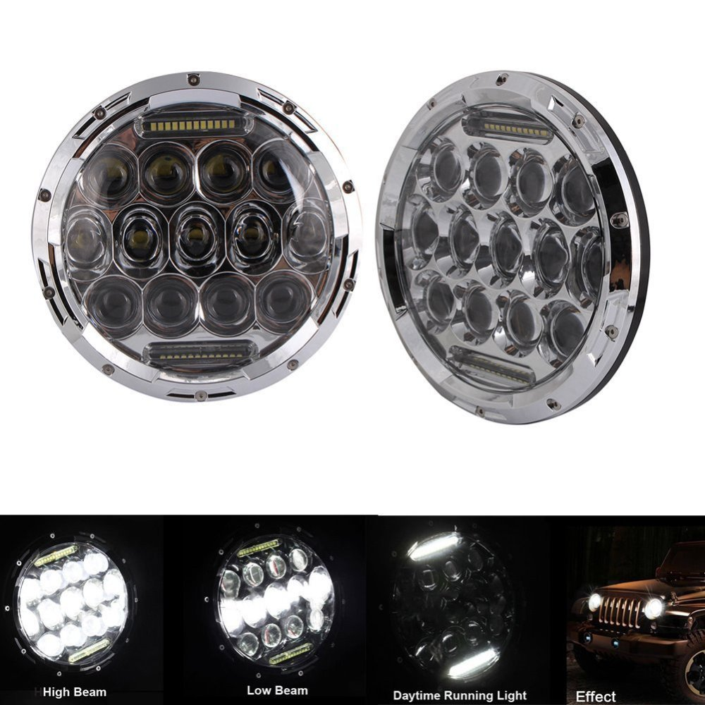 LED 75W Headlamp 7inch Round Chrome 6000K High / Low Beam motorcycle LED Headlight for Jeep Wrangler Hummer Off Road 1pair 30w 7inch headlamp car headlight 7 high low beam led head light for jeep wrangler