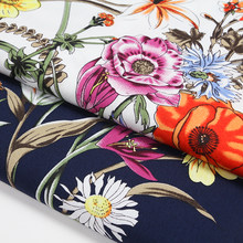Hot sale Rural wind diy craft 2 COLORS flowers bloom cotton fabric for shirt dress tissus au meter tissu telas DIY width 140CM(China)