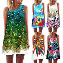 Ehuanhood Sleeveless Boho Beach Dress Women Floral Feather Print 2019 Summer Dress New Mini Casual Dresses for Ladies Vestidos
