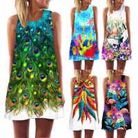 Ehuanhood sin mangas Boho Vestido de playa mujeres de plumas y flores estampado 2019 vestido de verano nuevos Mini Vestidos casuales para damas Vestidos
