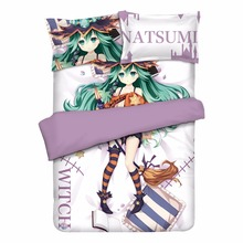 DATE A LIVE Natsumi Anime Bedding Sheet Sets Bedcover Pillow Case 4PCS