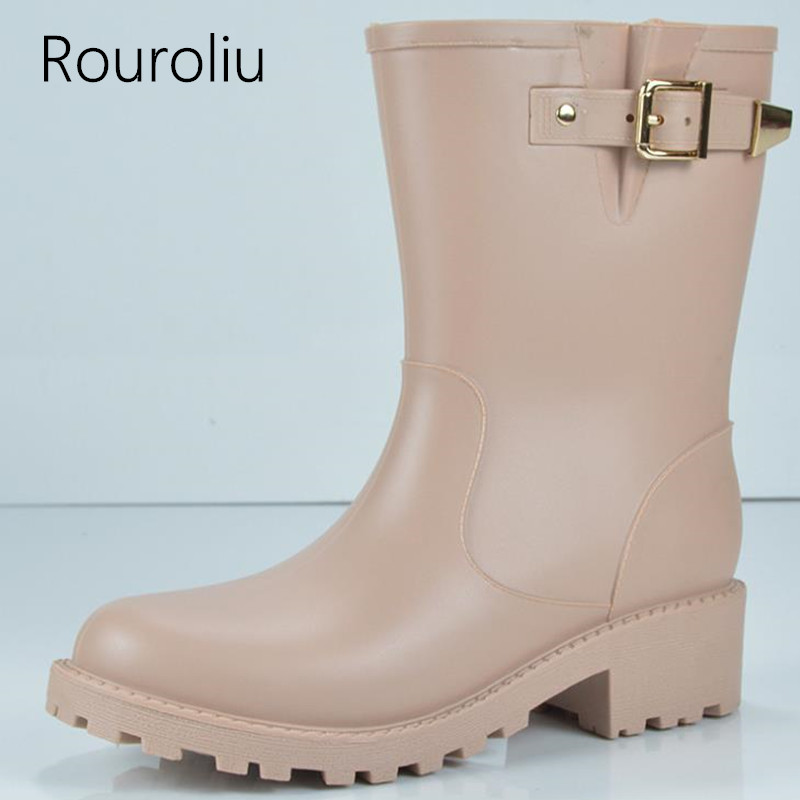Rouroliu Women Fashion Mid Calf Buckle Rain Boots Pvc Non Slip Rainboots Autumn Winter Woman