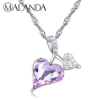 a81b778a6955 MALANDA marca ahueca hacia fuera el corazón collares para mujeres Cristal  de circón de Swarovski ...