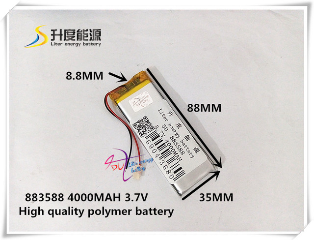 3.7V 4000mAH 883588  ( polymer lithium ion / Li-ion battery ) for tablet pc power bank mp3 mp4 gps