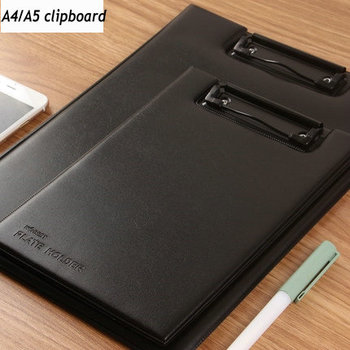 คุณภาพ PU หนังพับคลิปบอร์ด A4 A5 กระดาษคลิปบอร์ด Office Writing Pad