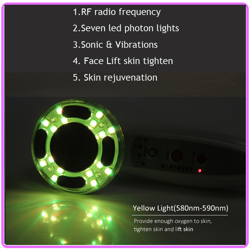 7 Colors Photon Led Skin Rejuvenation Sonic Vibration Skin Heating RF EMS Face Body Beauty Slimming Machine