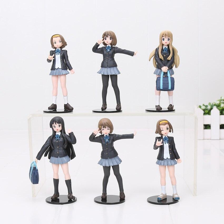 6pcs/set 10cm Japanese anime figure k-on!action figure best Christmas kids toys Akiyamn Mio Yui Hirasawa school