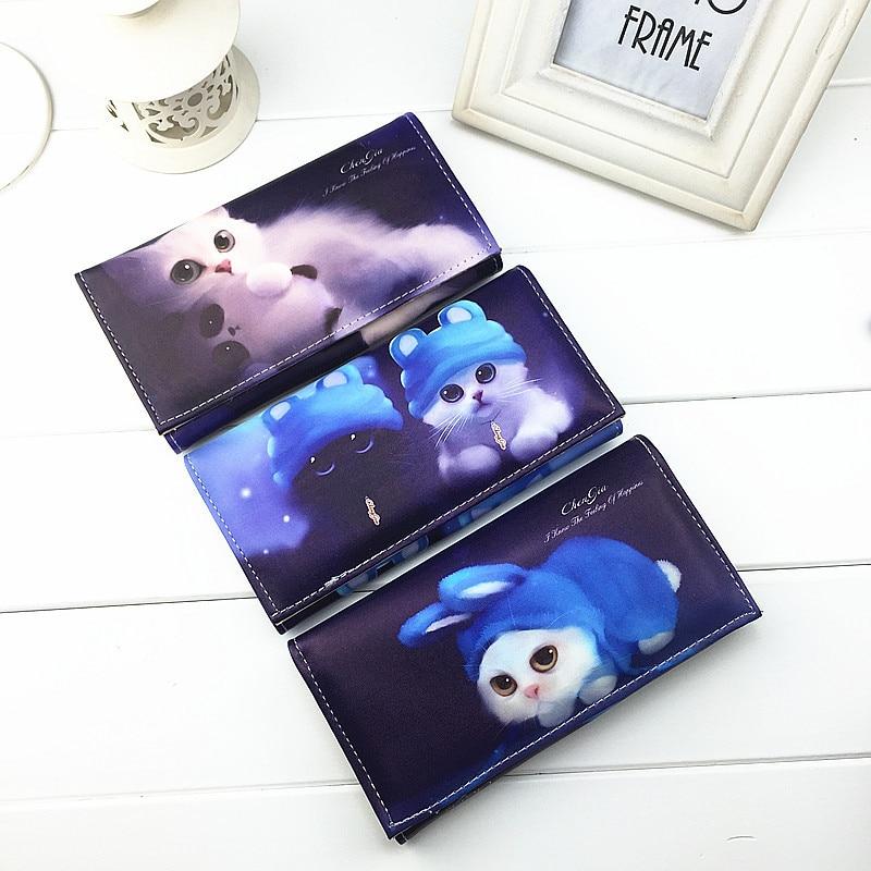 Blue cat print 3 D effect Cute cat wallets Women purse ladies clutch change purse Female card money bag PU leather wallet purse