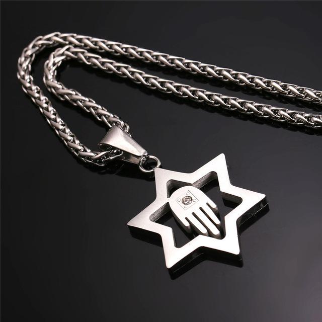 Star Of David Hamsa Hand Pendant For Men/Women