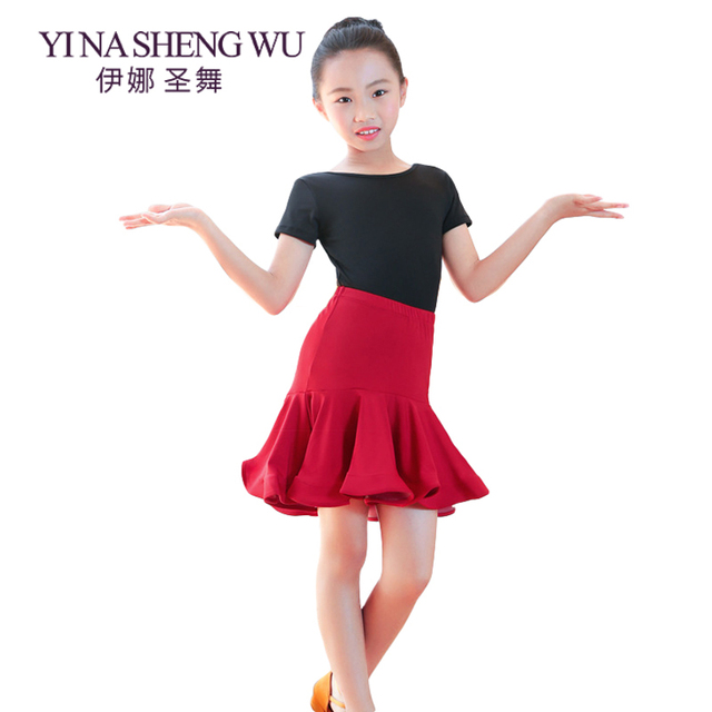 54ace7e2744 New Children Latin Dance Practice Clothes Ballroom Dance Dress Girls Latin  Performance Suit Top+Skirt Latin Competition Costumes