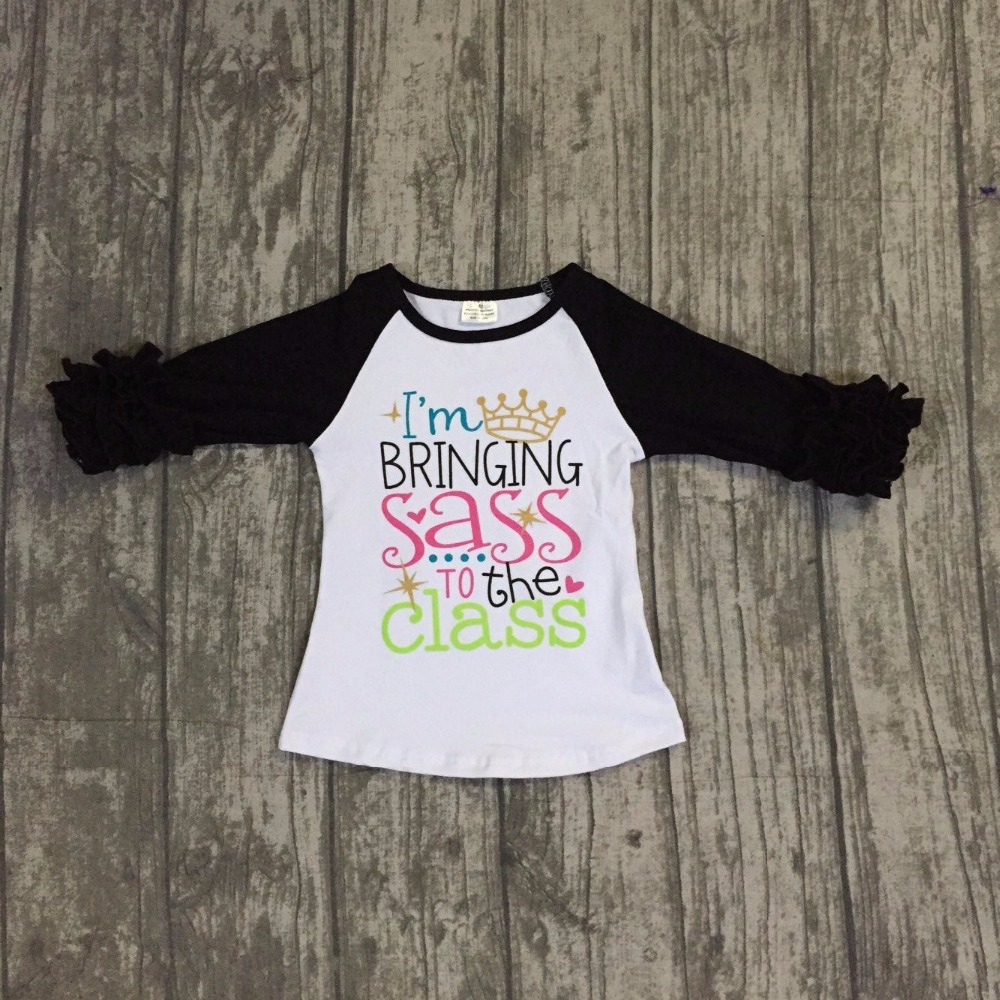 baby girls cotton back to school raglans girls I am blingbling SASS to the class raglans baby girls back to school raglans туфли beijing cloth shoes 102 2015