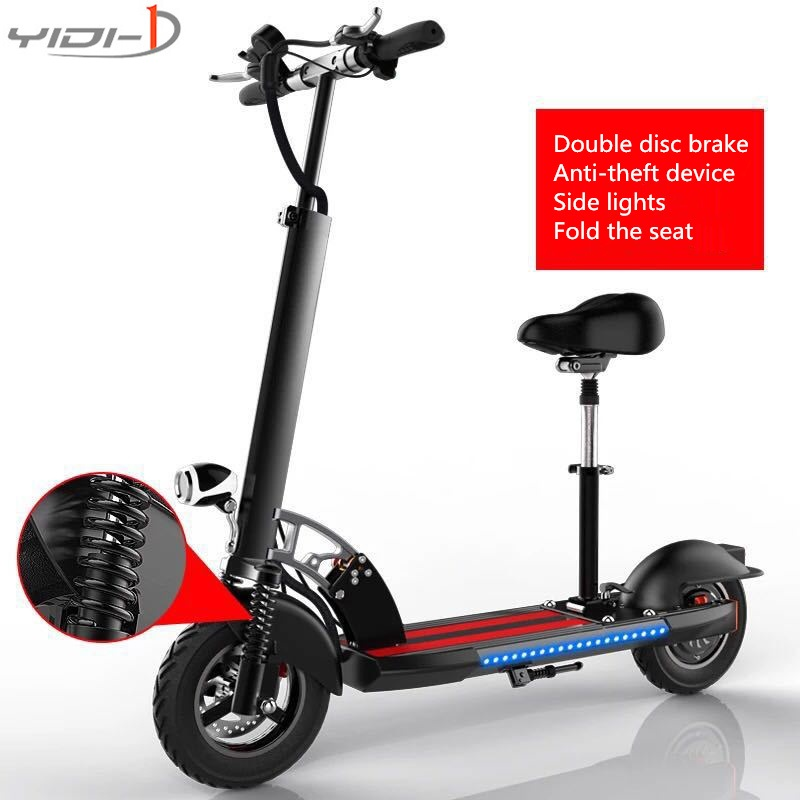 10 inch tires 48V electric scooter folding bike city two adult damping lithium battery car anti-theft device side seat belt 24v 300w 2 10 35km luggage folding carbon fiber electric scooter adult kid school working vehicles travel 2 wheel lithium ion