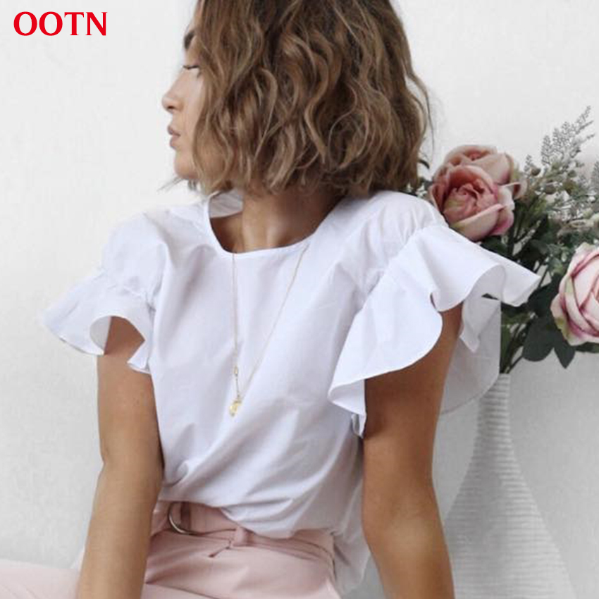 OOTN 2018 Summer T Shirt Female Butterfly Sleeve Ruffled Shirts White Tee Women Tops Female Summer Top Cotton Party T-shirt Work