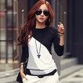 Women's Fashion Long Sleeve T-shirt O-neck Mixed Color Shirt Tee Tops   8VCE5