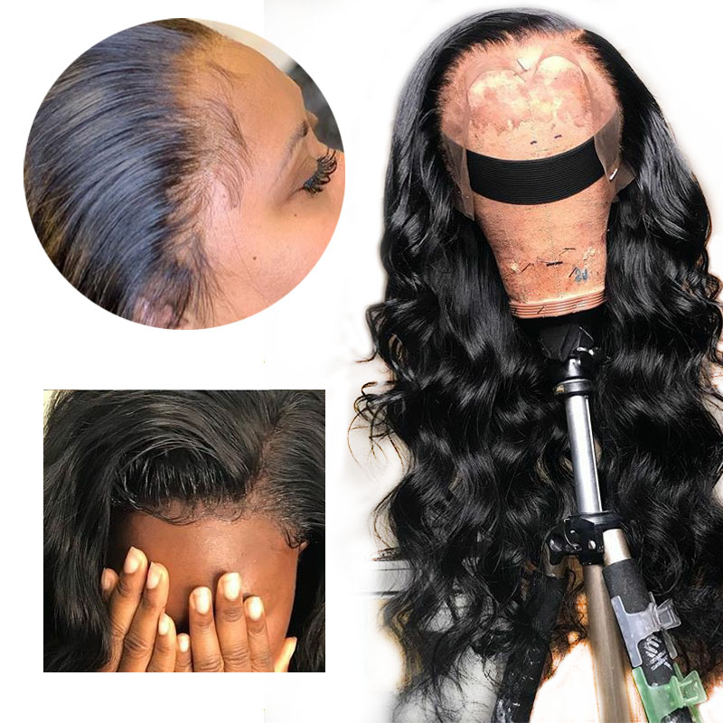 HD Transparent Invisible Lace Front Wig Loose Deep Wave Brazilian Natural Human Hair Remy Wig Preplucked