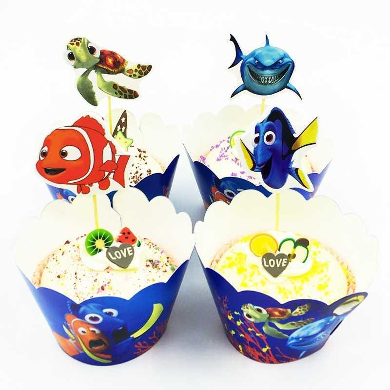 Ninjago テーマケーキアクセサリー 24 ピース/ロット 12 ラッパー + 12 個トッパー子供のため BoysBirthday パーティーカップケーキデコレーション