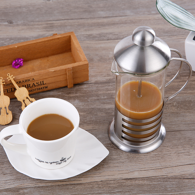 French Hand Press Pot Coffee Tea Maker 600ml Modern Concise Style Material  Stainless U0026 Heat