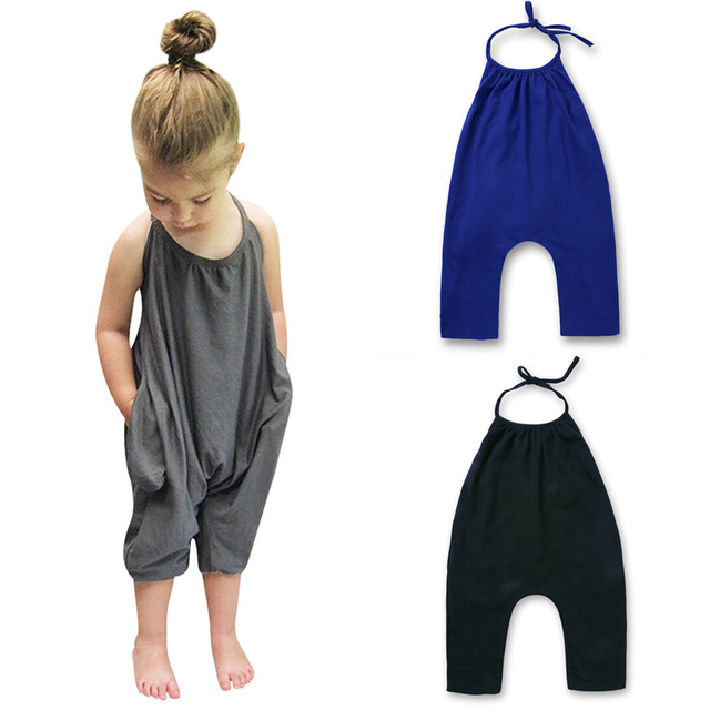 e5494502915f 2018 Summer Girls Overalls Sleeveless Children s Clothing Kids Solid Jumpsuit  Child Suspender Rompers Outfits Baby Girl Clothes