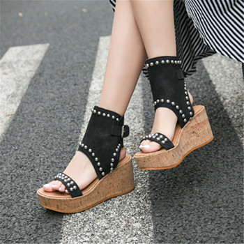 Summer Women Gladiator Sandals Platform Wedge Shoes Woman Rivets Studded Women Pumps Zapatos Mujer Creepers Wedges