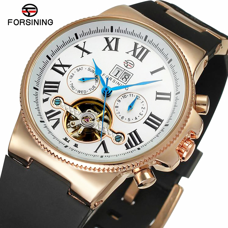 FORSINING Top Brand Mens Wrist Watch Army Military Sport Business Skeleton Clock Rubber Tourbillon Automatic Mechanical WatchesFORSINING Top Brand Mens Wrist Watch Army Military Sport Business Skeleton Clock Rubber Tourbillon Automatic Mechanical Watches