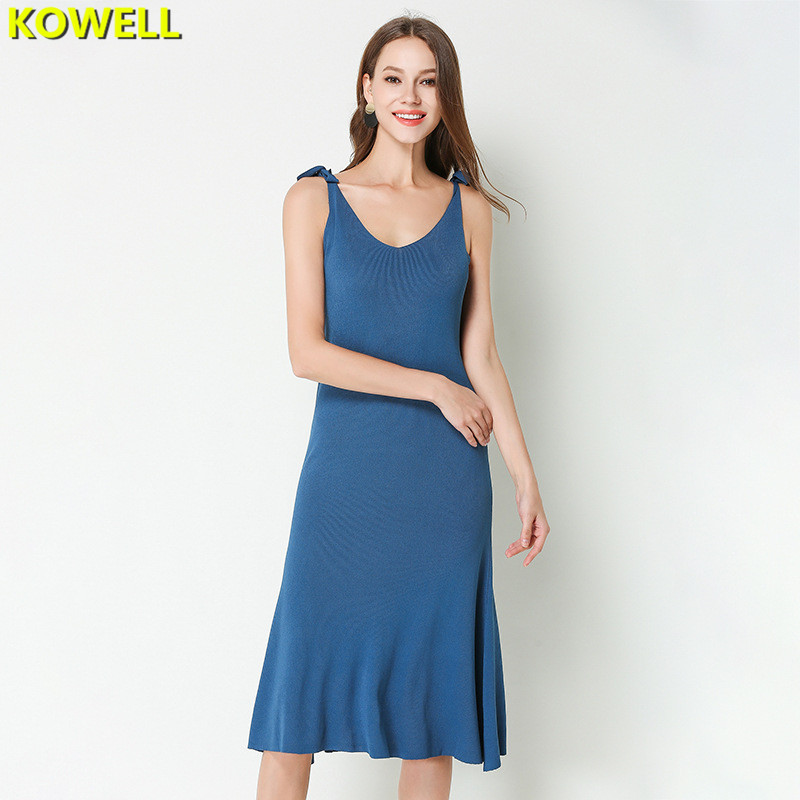 Hot 2018 Summer Clothes For Women Sweater Dress Solid Color V-Neck Lady Spaghetti Strap Knit Sexy & Club Bodycon A-Line Dresses